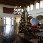 main lobby decked out for Christmas