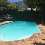 Pics of pool, breakfast area and the pretty town of Franschhoek