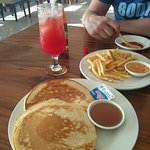 pancakes, fries and watermelon juice