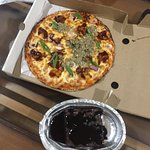 chicken pizza and brownie