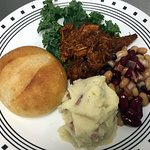 Pulled pork, mashed potatoes & baked beans from the hot bar