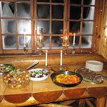 Dinner buffet at Skoki Lodge