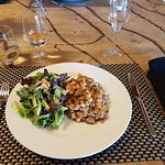 Pork and beans and salad