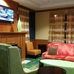 Front lobby lunge with TV and comfortable seating