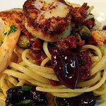 Puttanesca linguine with shrimp and scallops - DIVINE!