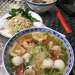 Large portion of seafood pho and beef pho