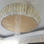 Iturevet lampe på fællesareal fuld af døde insekter