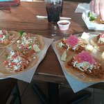 Chicken tacos on the left, Pork tacos on the right