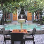 center of the open courtyard (part of definition of riad)