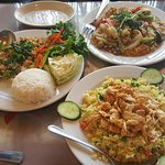 Pork Larb, Pineapple Fried Rice, Noodles dish.