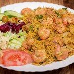 Garnal met rijst en salade