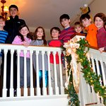 Grandchildren on stairway.
