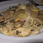 Pasta with veal and mushrooms.