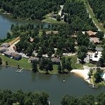 Aerial View of lakefront units and beach area.