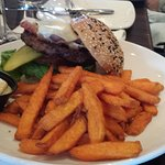 The Freighter Burger with sweet potato fries