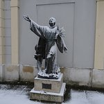 Outside the church - St Francis in the snow