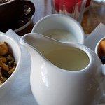 fresh milk and yogurt, along with the fresh fruit and muesli