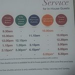 Time table for their free shuttle service.