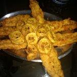 Very poorly prepared golden fried prawns