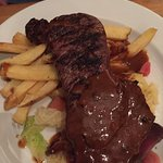 Sirloin steak, chips and veg