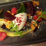 Whipped Goats Cheese with Lemon Curd, Roast Beetroot and Raspberries
