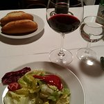 nice wine and fresh salad to start off the lovely dinner