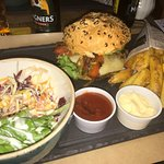 Great burgers, chips and salad