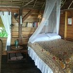 Thatch Cabana interior with 2 beds