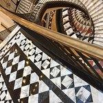 Marble floors and winding staircase