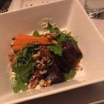 Beet and Farro Salad with carrots, arugula, and creamy feta dressing.