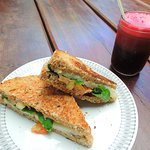 The famous Strangle-wolf, vegan grilled sandwich with homemade manioc cheese