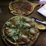 Pizzas - Vegetarian Annie with Fish & their fabulous Bolognese Pizza!