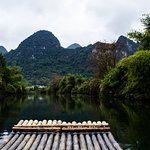 On a bamboo raft at Yangshuo river