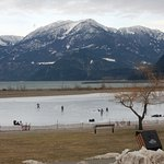 Before the snow fall,kids were playing hockey on the frozen lagoon