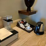 mini bar with illy pod coffee machine