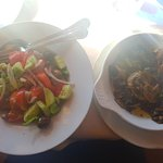 Greek salad, no feta, and sautéed mushrooms