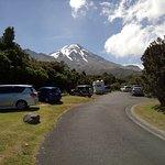 Dawson Falls carpark and Mount Egmont/Mount Taranaki.