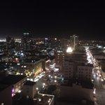 night view from skyline corner balcony room