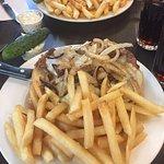 Steak sandwich on garlic roll - amazing!