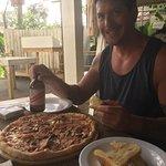 Pizza and garlic bread
