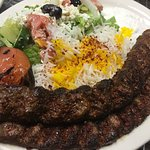 Beef Kabob (Koubideh) One Skewer Ground Beef & Onion served with Basmati Rice and Salad