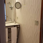 pocket door to the bathroom shower/sink