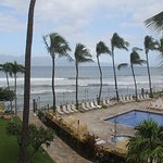 View from our room on a day that started out windy and rainy. Molokai in the distance.