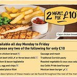 Available all day Monday to Friday, two meals for just £10 from this selection