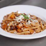 Zucca includes roasted butternut squash, crimini mushrooms and gorgonzola cheese.