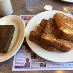 Delicious light and fluffy french toast and scrapple