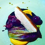 Pan fried duck breast w foie gras & sweet potato puree, sour cherry & balsamic reduction