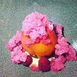 Peach melba w raspberries & Prosecco granita - delicious