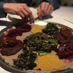 Chicken and lamb platter, extra collards, beets and split peas. Yum