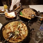 Chicken with vegetables and pork kebab and cheese bread. The dishes were awesome , and very big,